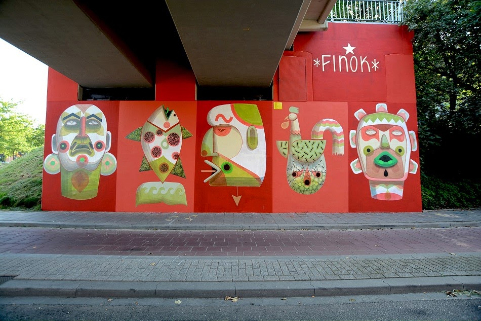 Finok was one of the international artists that took part in recently completed Heerlen Murals Project 2014. The young Brazilian artist brought a bit of different flavor to the Dutch city with this colorful piece.