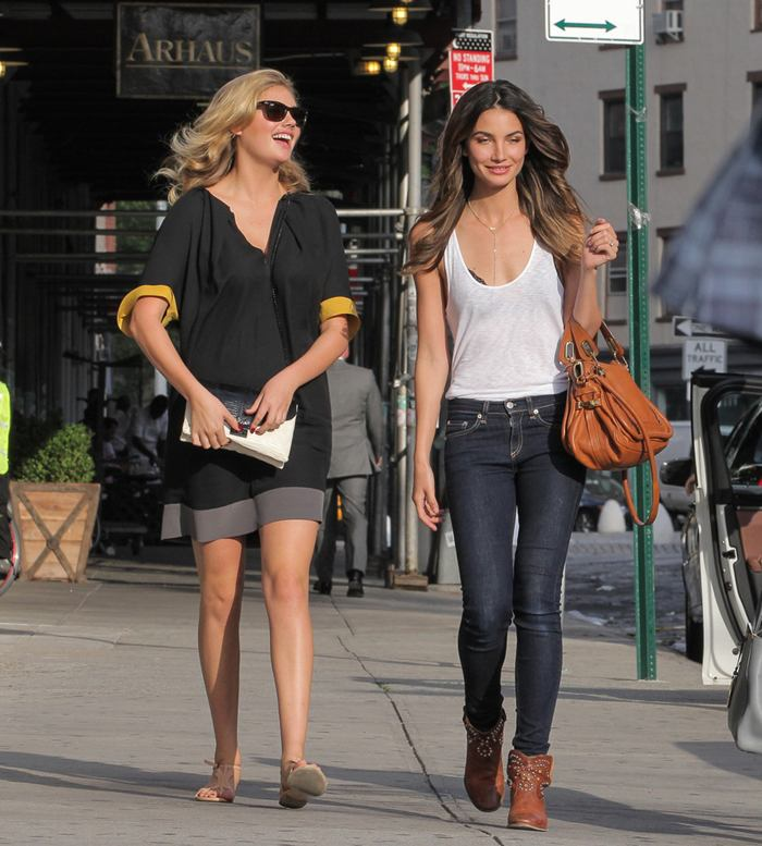 Kate Upton and Lily Aldridge, Out and About in NYC