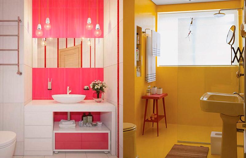 Mais banheiros rosa e amarelo!