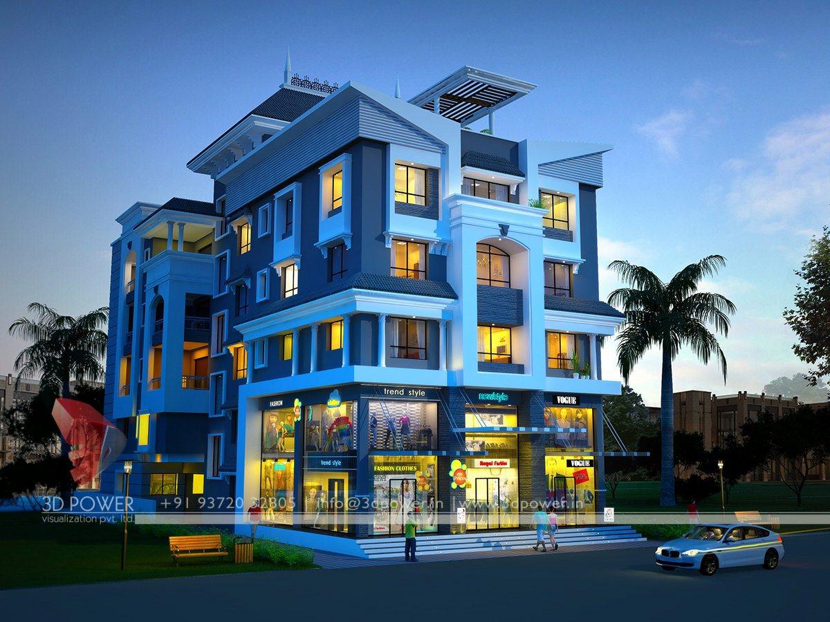 Corporate building design 3d rendering exclusive night view for 3d building design online