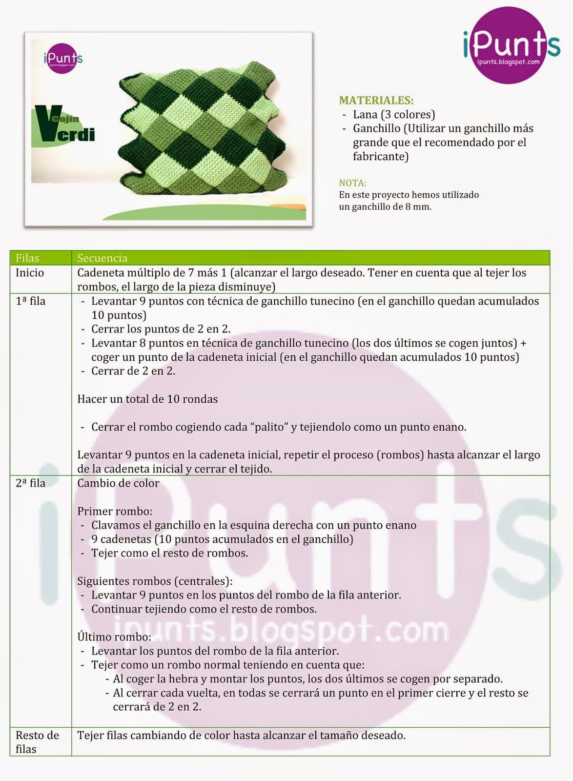 iPunts: Patrón y tutorial entrelac: Cojín Verdi