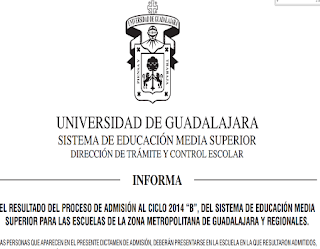 Resultados UDG Escolar Ingreso 2014-B 28 Julio