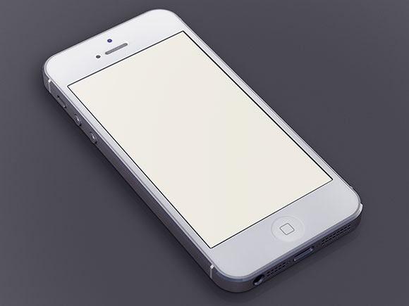 White iPhone5 PSD mockup