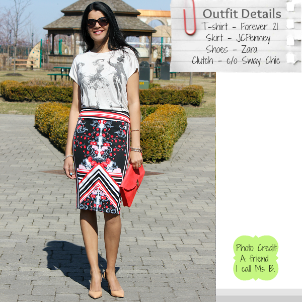 Mirror Prints, Mirror Print Pencil Skirt, JCPenney Skirt, Zara Pumps, Spring Outfit Ideas