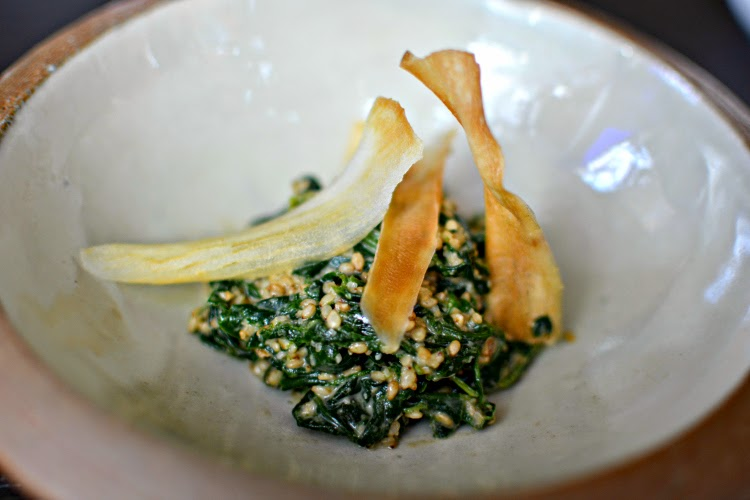 Sakura at Sake no Hana spinach cassava chips