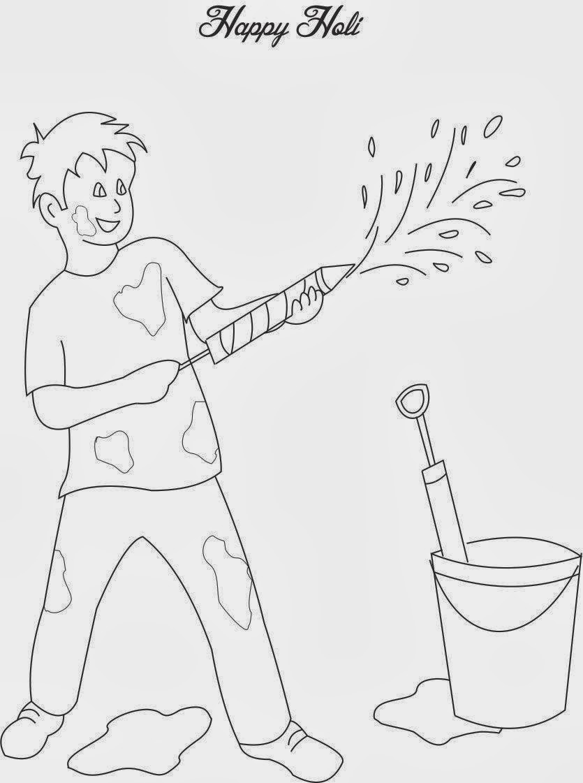 Happy Holi Coloring Pages 2014 | Holi Coloring Pages ... Holi Pictures For Colouring