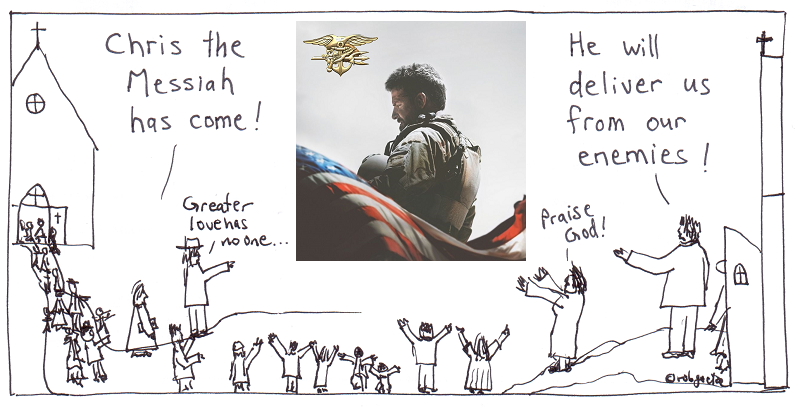 chris the messiah (a.k.a. american sniper). cartoon by rob g