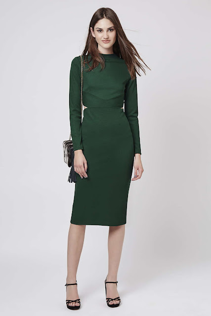green cutout midi dress, long sleeve green dress,