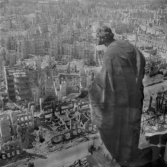 The Bombing of Dresden Statue Overlooking City