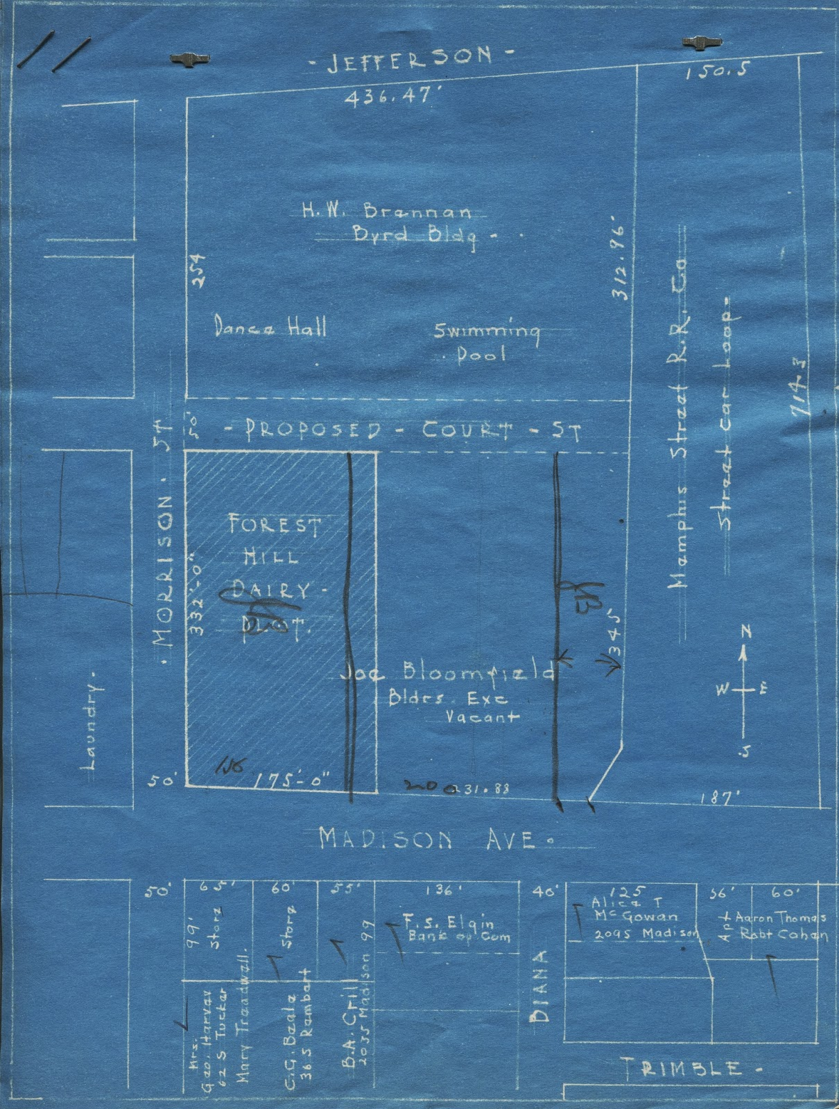 this vicinity map shows various property owners of land now occupied by forest hill prairie farm the forest hill dairy plot is now the parking lot for