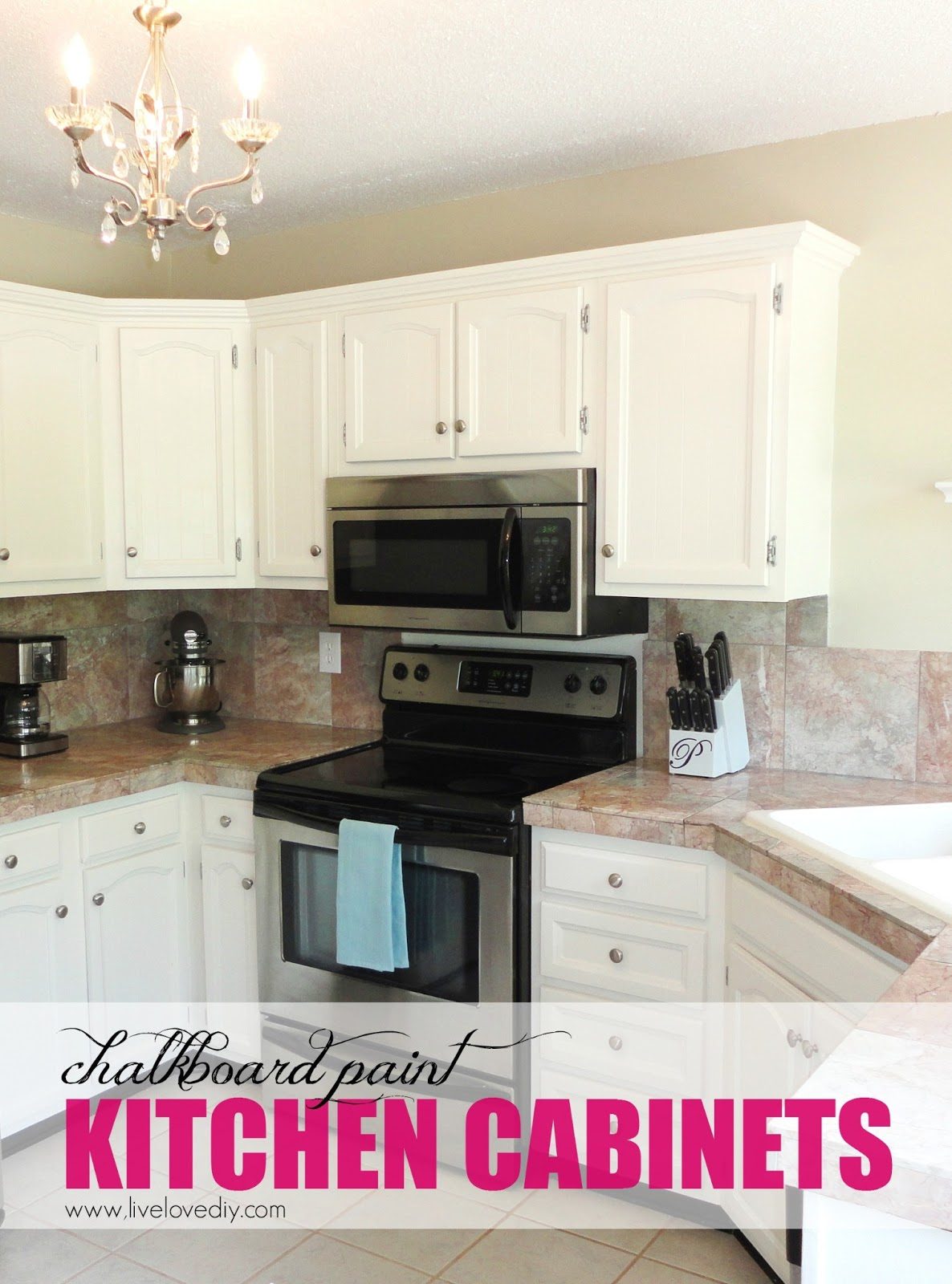 Livelovediy the chalkboard paint kitchen cabinet makeover for Painting your kitchen cabinets