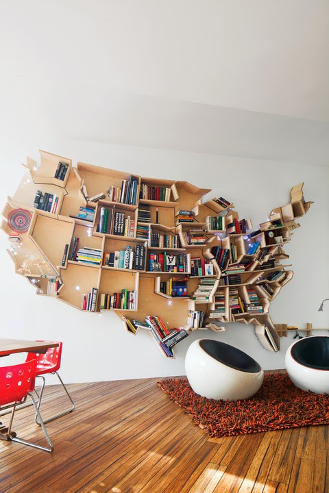 Bücherregal aus MDF/Laminat in U.S.A.-Form - ein Regal zur Wanddeko