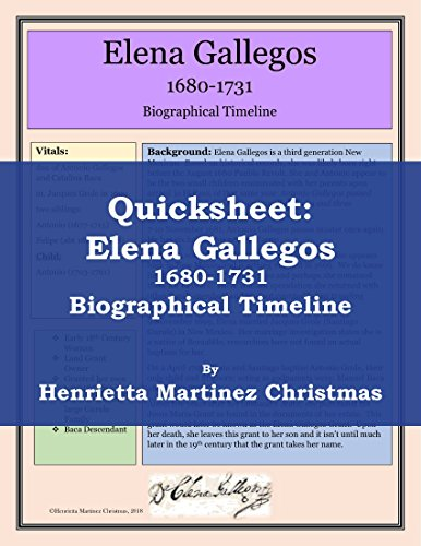 Quicksheet: Elena Gallegos Biographical Timeline
