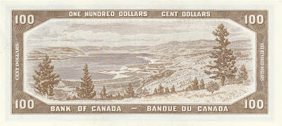 Canada currency 100 dollars banknote bill Munson's Mountain Okanagan Lake