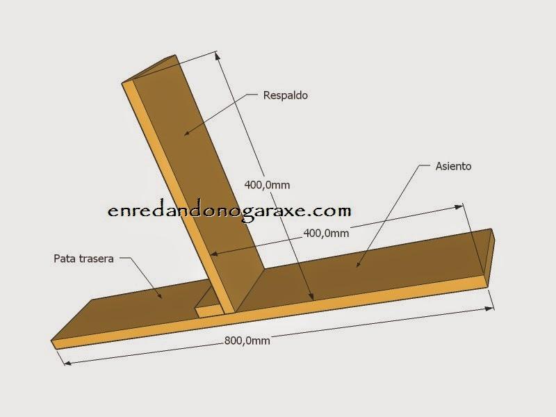 Medidas de los laterales del asiento, respaldo y pata de la silla de patio. Enredandonogaraxe.com