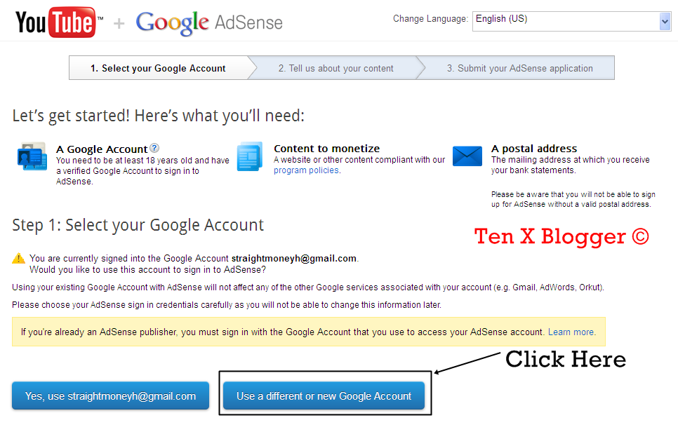 Use Already Existing Adsense Email Address