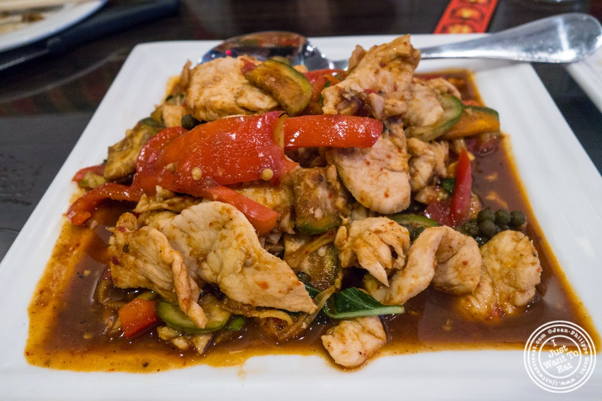 image of Chicken Pad Ped at Larb Ubol, Thai restaurant in Hell's Kitchen, NYC, New York