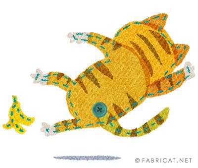 バナナの皮で転ぶ可愛い猫のイラスト