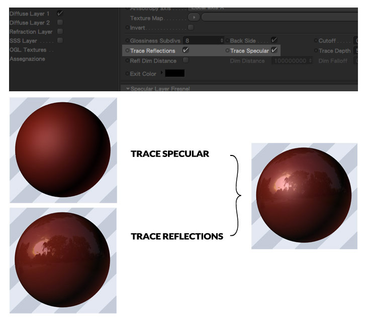 trace refletions trace specular materiali vray