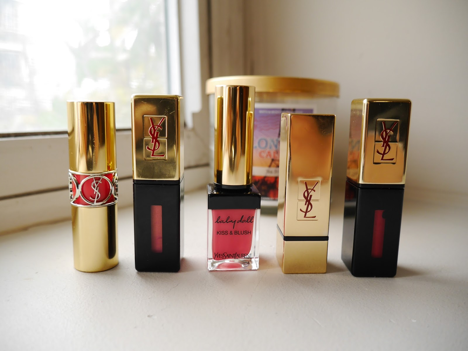 ysl glossy stin 13 109 rouge volumpte shine 12 kiss and blush 2 rouge pur couture 52 s