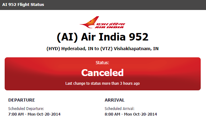 AI 952 Air India Vizag (VTZ) to (HYD) Hyderabad 8:00 AM Cancelled  Oct 20, 2014