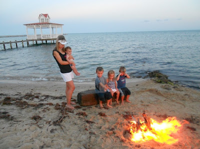 bonfire on the barefoot perfect beach in Belize
