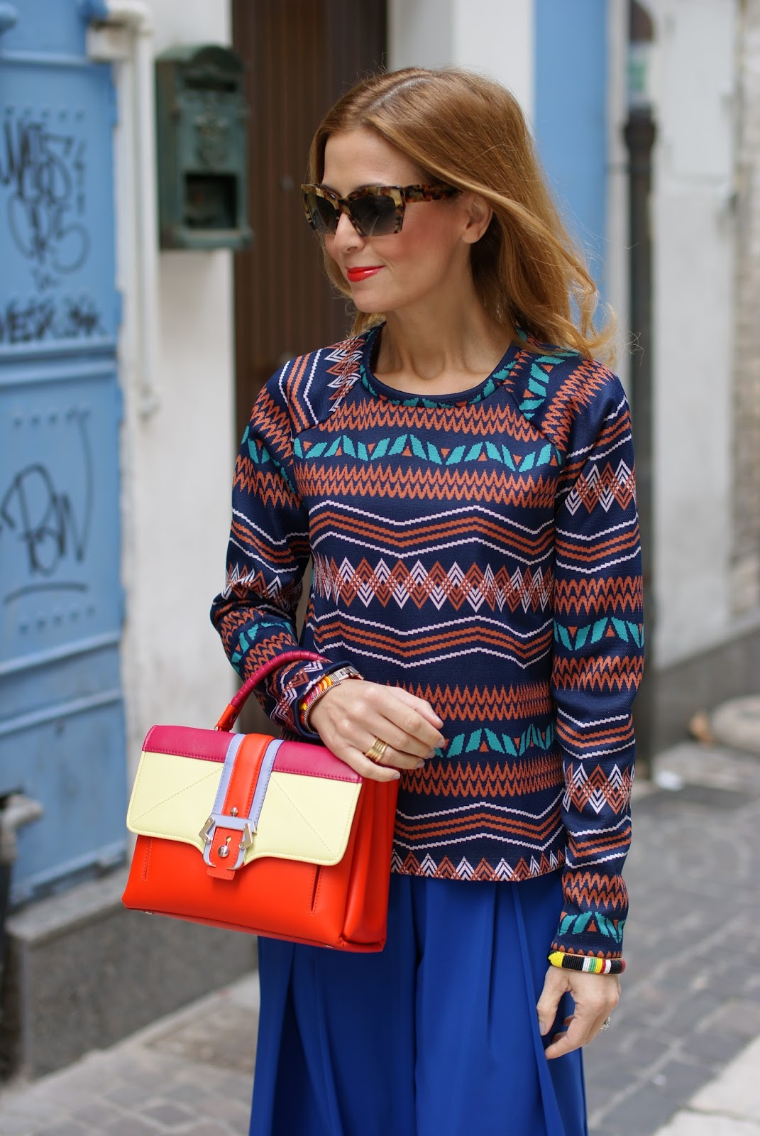 Colorful outfit with wide leg palazzo pants. YSL Le Orange lipstick and Paula Cademartori Petite Faye bag on Fashion and Cookies fashion blog, fashion blogger style