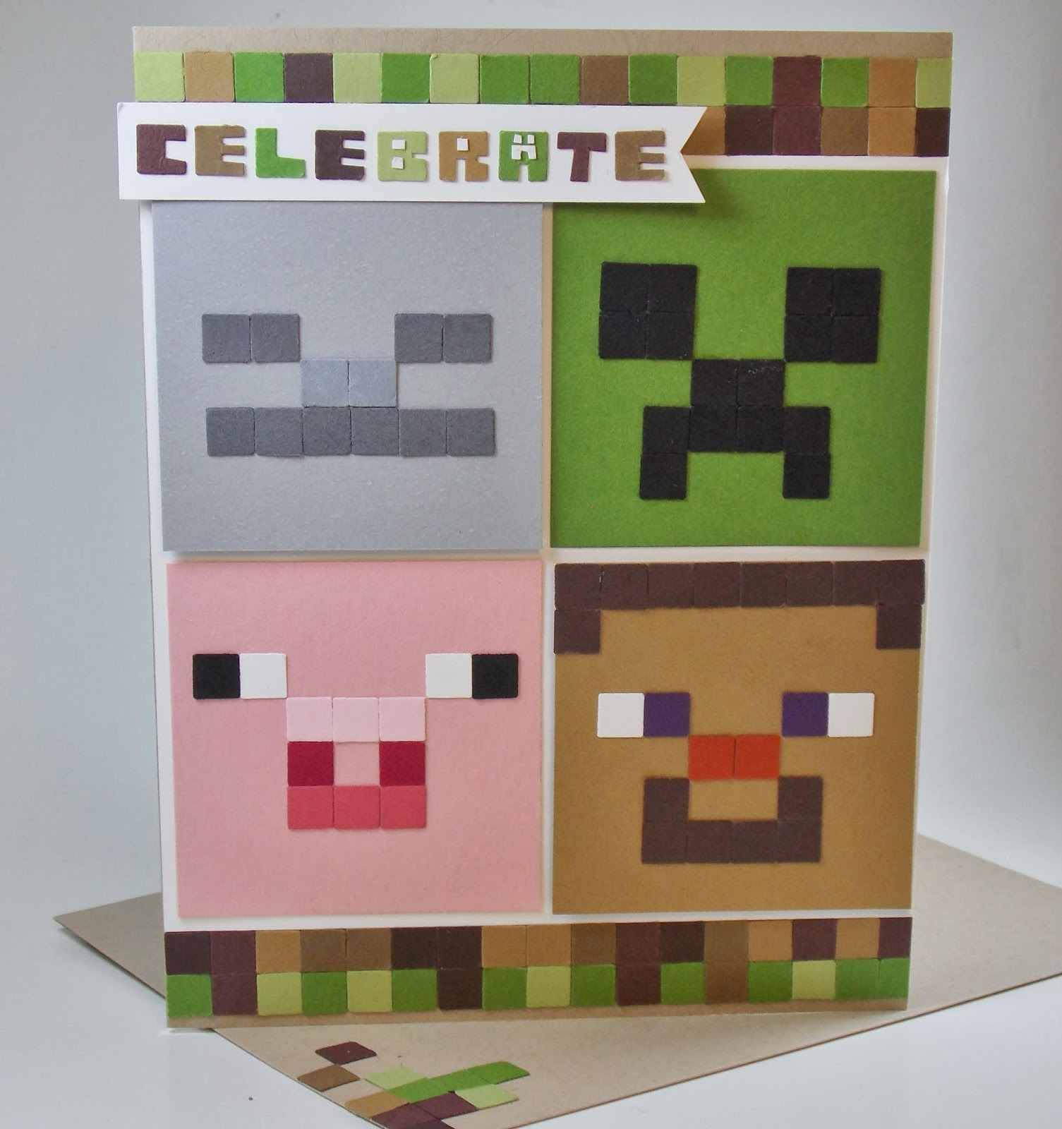 laura's works of heart minecraft birthday card, Birthday card