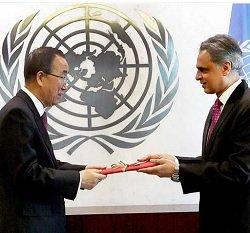 Syed Akbaruddin presents credentials at U.N