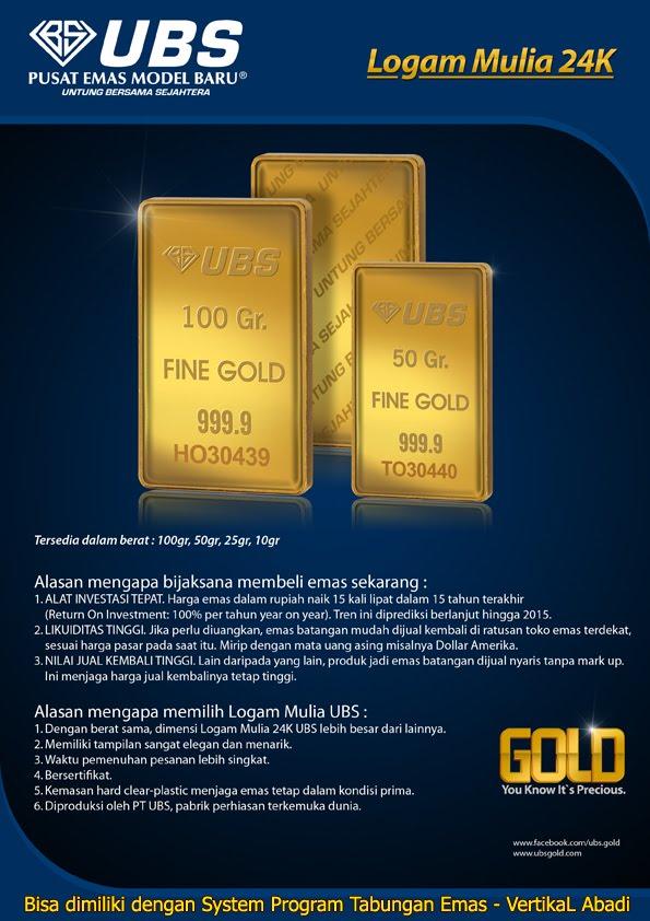 Produk Baru Emas Batangan 99,99 PT UBS