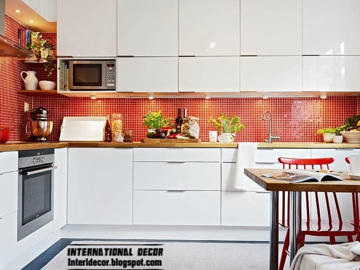Scandinavian kitchen style and design, red and white mosaic tiles