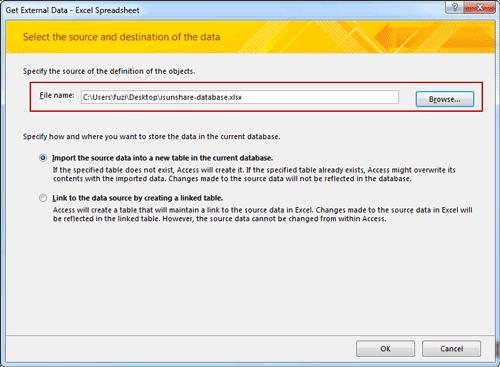 specify external data location