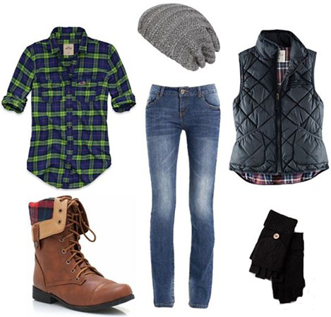 Shirt jeans vest beanie boots gloves for Flannel shirt and jeans