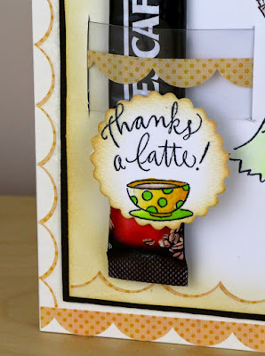 SRM Stickers Blog - Thanks a Latte by Cathy Andronicou - #card #coffee #latte #coffeeloversbloghop #srmstickers #punchedpieces #borders