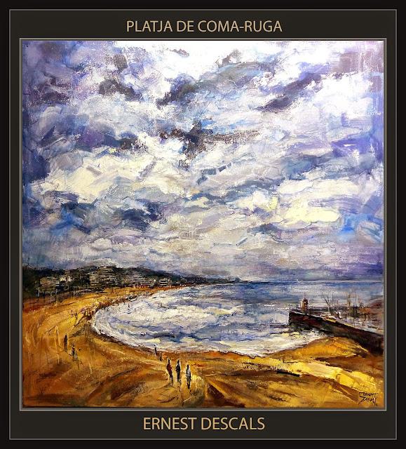 COMA-RUGA-PINTURA-PLATJA-TARRAGONA-PAISATGES-CATALUNYA-MARINA-PINTOR-ERNEST DESCALS-