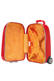 Picture showing inside of the Sammies Samsonite Kids Hard Upright Suitcase - Car Design