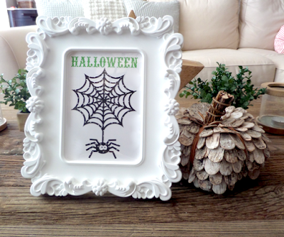 SRM Stickers Blog - Halloween Framed Decor by Annette - #halloween #homedecor #frame #altered #patternedvinyl #vinyl #DIY