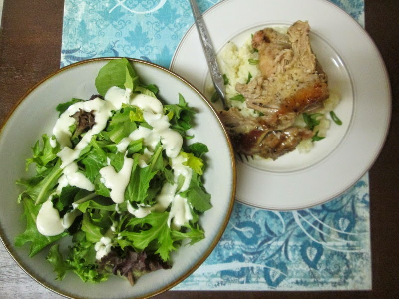 Parmesan and Green Onion Cauliflower Couscous with Middle Eastern Garlic Chicken and a salad