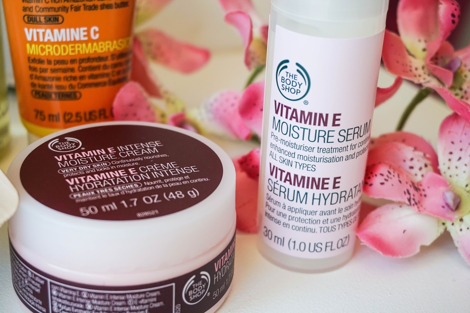 The Body Shop, Vitamin C Microdermabrasion, Glazed Apple Bath Jelly, Camomile Silky Cleansing Oil, Vitamin E Moisture Serum, Vitamin E Intense Moisture Cream