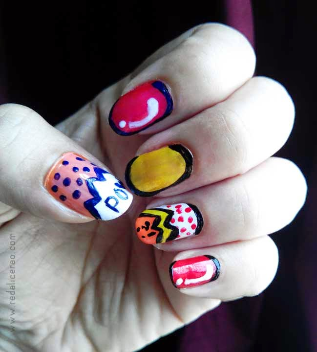 Comic Pop Art Nails, Red alice rao, Fashion and beauty blog, Blogspot, Beauty, Nailart, Pop art nails, Comic nails, Comic inspired