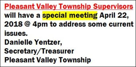 4-22 Pleasant Valley Township Meeting