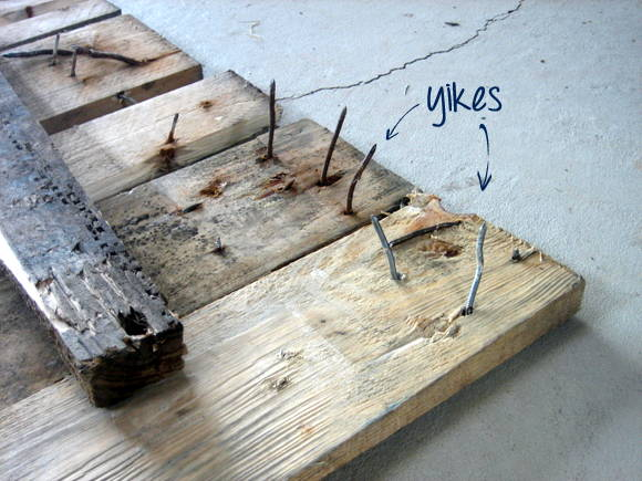 Get rid of those nasty, dangerous nails from the old pallet - carefully!