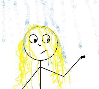 stick figure with tangled hair, weighed down by rain falling on it.  Figure holds her hand out, watching it