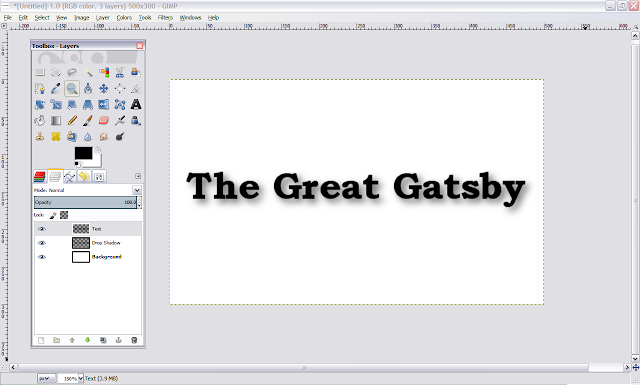 GIMP basic text shadow how-to instructions