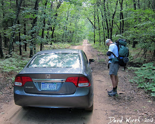 trailhead drop off point, manistee national forest, start of trail