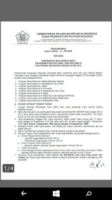 Peng-10/PP/2015 - Penerimaan Mahasiswa Baru D3/D1 PKN STAN 2015