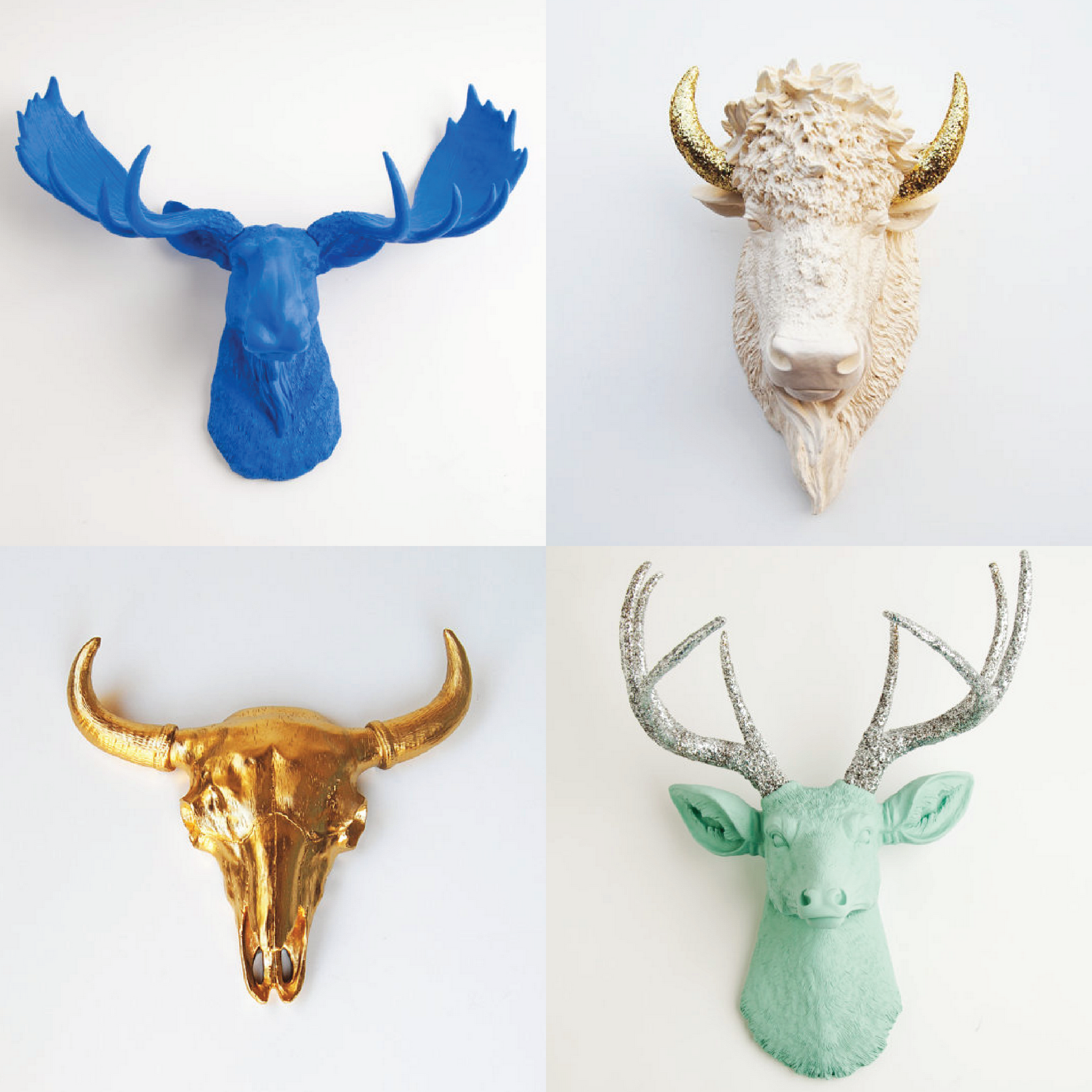 brighten a blank wall with white faux colorful assortment of faux animal heads