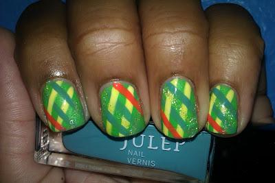 Julep, green, yellow, blue, coral, stripes, striping, plaid, nail art, mani