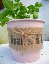 pink basil pot