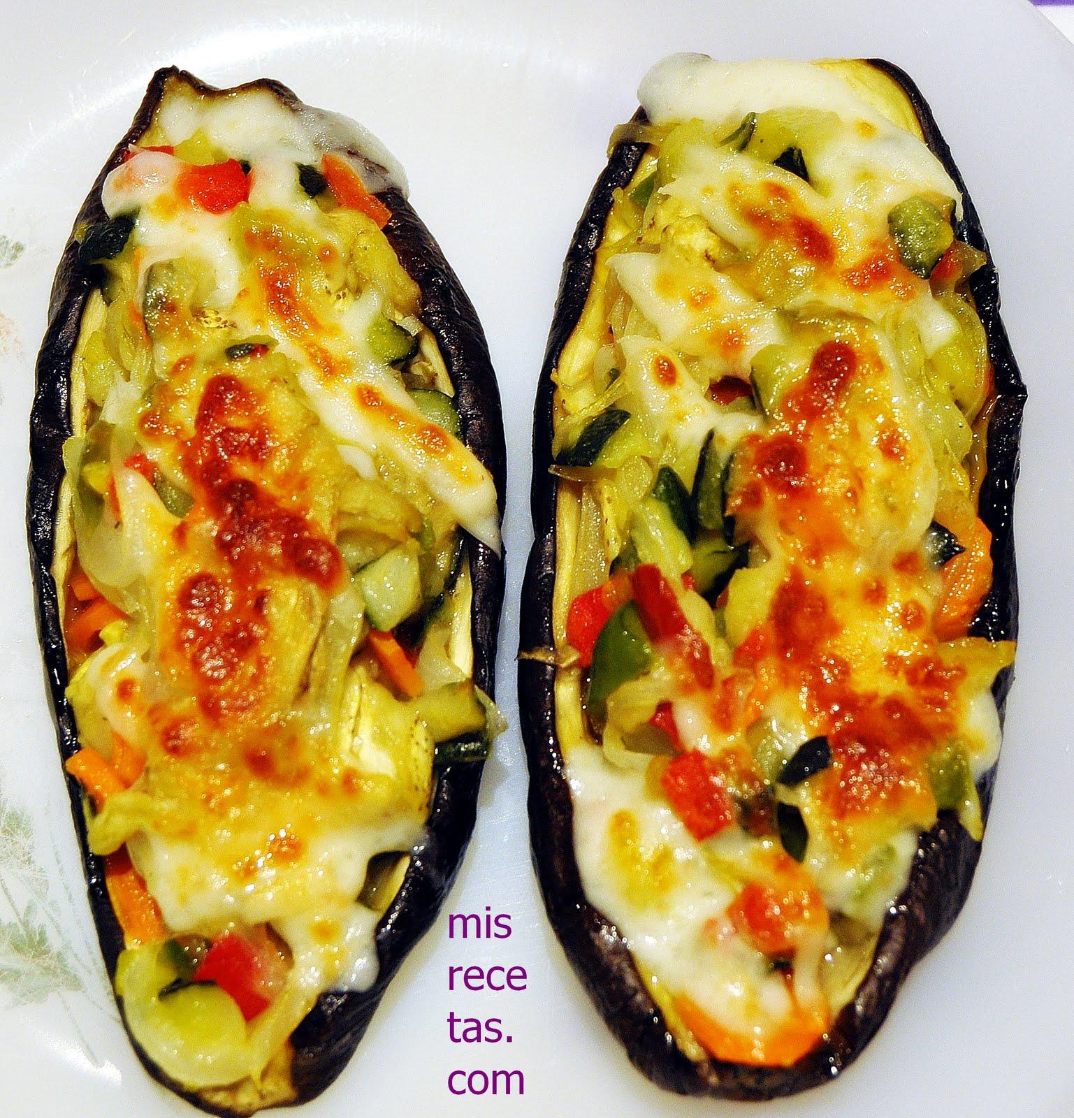 Mis recetas com berenjenas rellenas de verduras - Berenjenas rellenas al horno ...